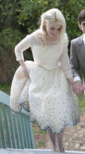 sparkly scallops - adorable vintage style tea length wedding dress with sheer sleeves