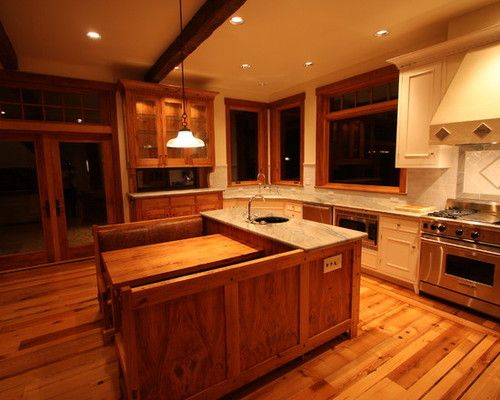 Center kitchen island with built in booth kitchen for Built in booth