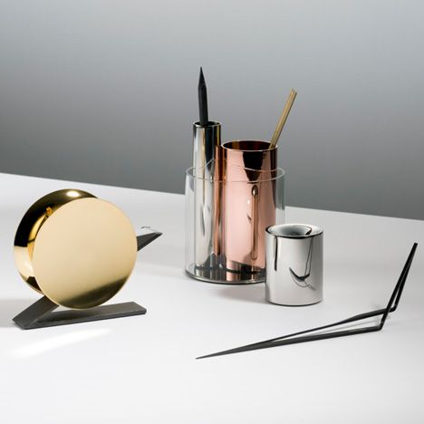 London studio Poetic Lab has created a collection of stationery for design brand Beyond Object with simple shapes and metallic finishes