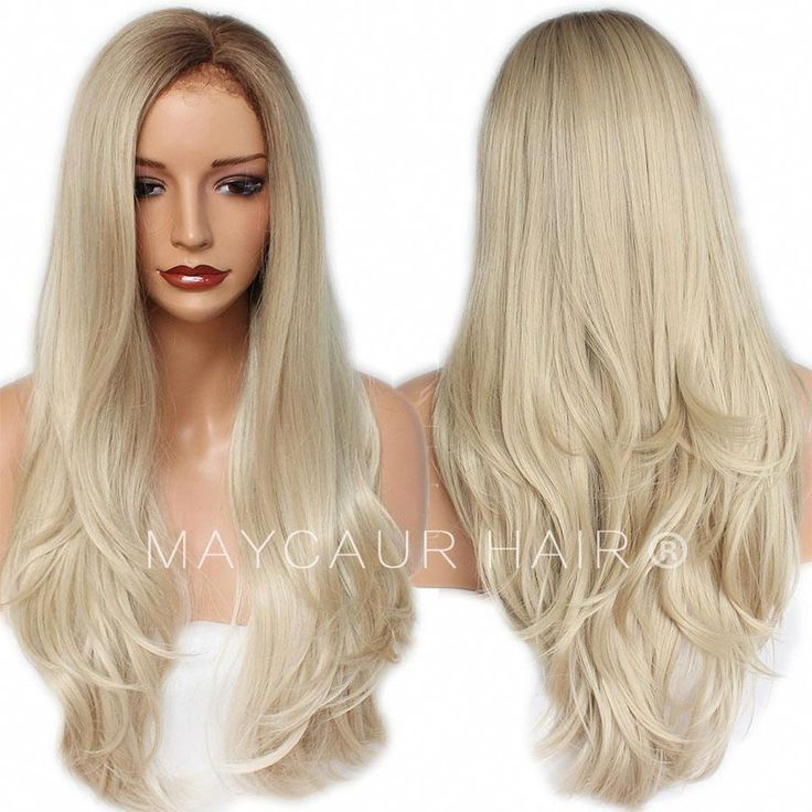 Long Straight Wig with Natural Hairline Synthetic Lace Front Wigs #4 Blonde Ombre Color-Maycaur #ombrestraighthair #longhair