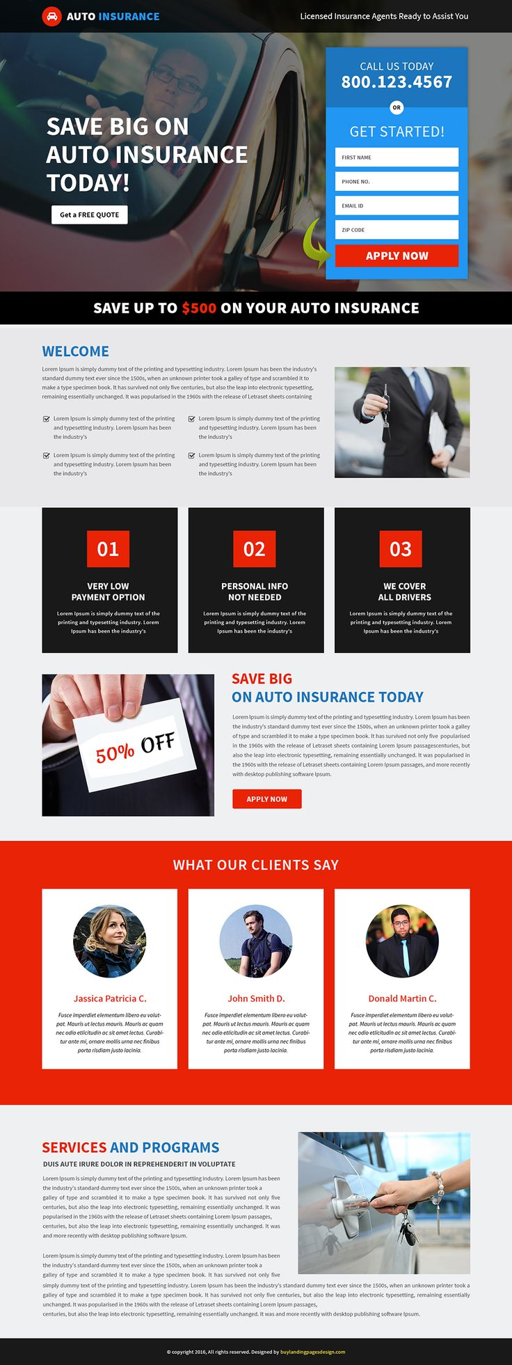 Responsive Auto Insurance Landing Page Template $29 only BuyNow!