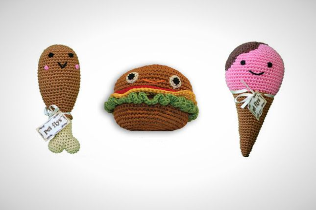 These quirky snack-inspired toys are cuddly and perfect toys for stashing in your dog's bed.
