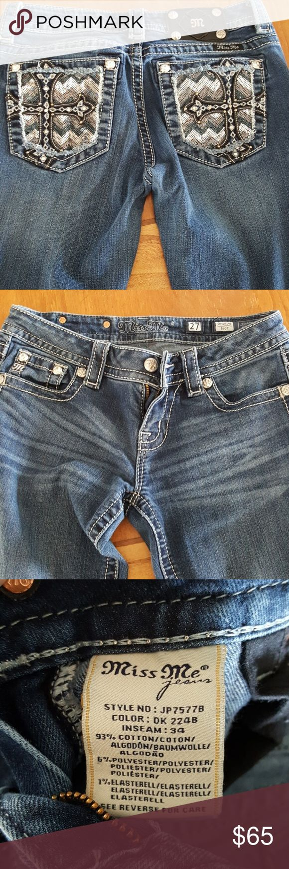 Miss me jeans size 27 inseam 34 Gently used Miss Mes size 27. No jewels or buttons missing. No stains. Miss Me Jeans Boot Cut