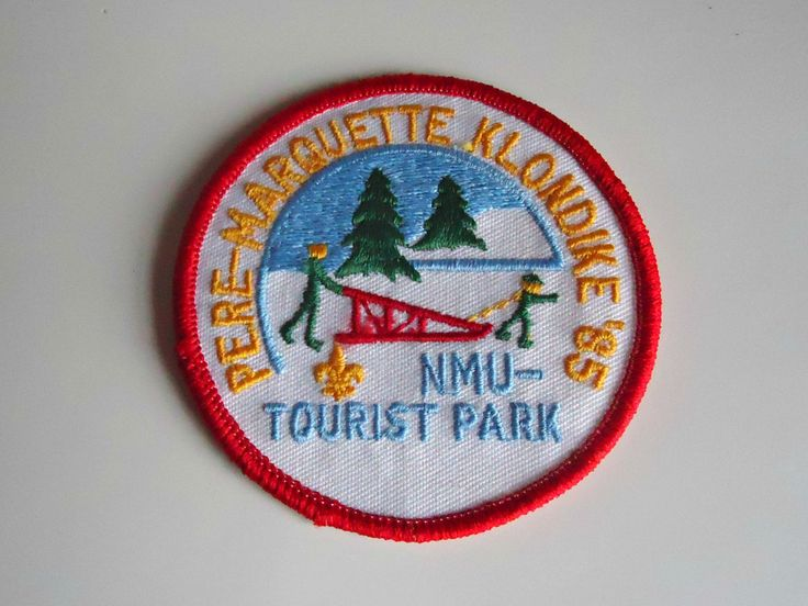 Vintage Boy Scouts Patch Pere Marquette Klondike NMU Touriest Park Embroidered Badge 1985 by treasurecoveally on Etsy