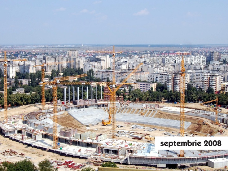 2008:  • 20 mai 2008: este emisă autorizaţia de construcţie.  • 21 mai 2008: se dă ordi¬nul de începere a lucrărilor.  • 13 noiembrie 2008: are loc prima vizită de evaluare a stadiului fizic al lucrărilor la stadion, făcută de o Delegaţie UEFA condusă de preşedintele acestui for, Michel Platini.
