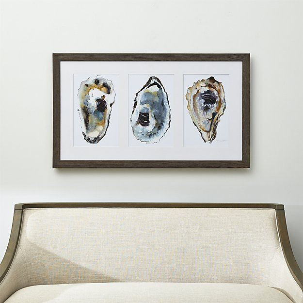 Shop Oyster Print.  While repairing a pier, artist Michael Willett discovered a stash of oyster shells uncovered by the shifting sands.