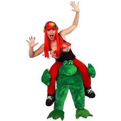 Gedragen door kikker kostuum voor volwassenen. Funny kostuum waarbij het net lijkt of u op de rug zit van een kikker. One size. Dit kostuum bestaat uit het pluche kikker pak met rode broek met schoenen. Exclusief shirt en andere accessoires.