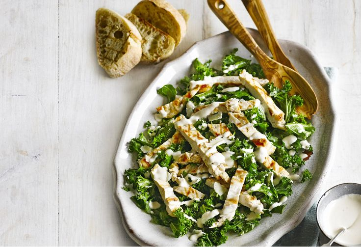 Try this kale chicken salad for a modern twist on the classic Caesar salad. This recipe is really easy, ready in just 30 minutes - perfect for a midweek meal.