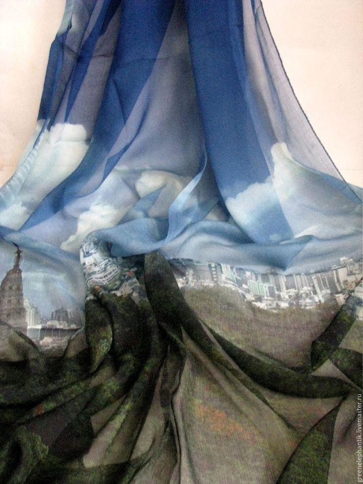 Купить Палантин шелк шифон натуральный Мегаполис - шелк 100%, шарф с принтом, палантин шелковый