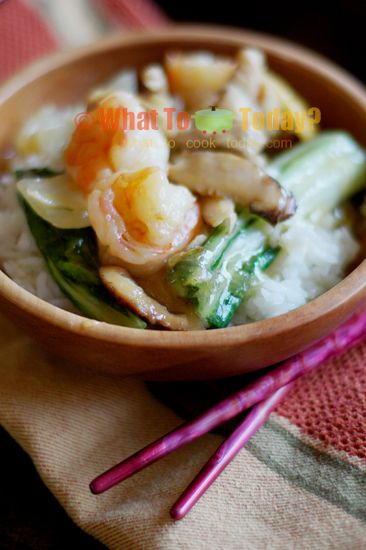 SHRIMP AND CHICKEN ANKAKE DONBURI. This Japanese Donburi couldn't be easier to make and a complete meal on its own!