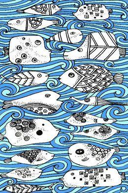 Fishy friends by artbynikitajariwala at zippi.co.uk