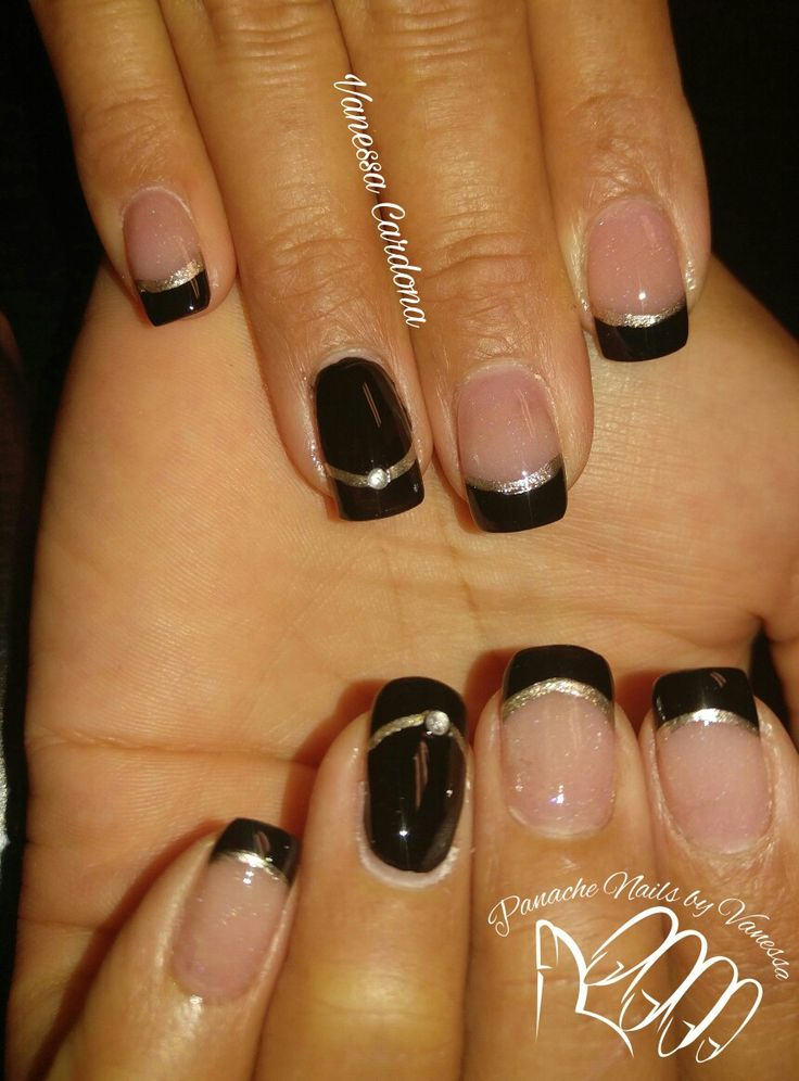 Black and gold Acrylic nails French tip Panache Nails by Vanessa