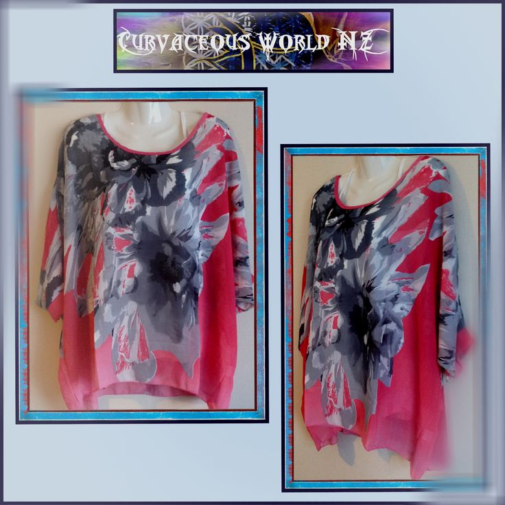 Crayola Red and Grey Bohemian style Blouse with Batwing sleeves