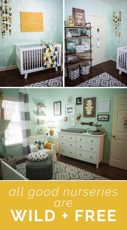 Boy Nursery - Boho Adventure Wild + Free - Mint, Grey and White