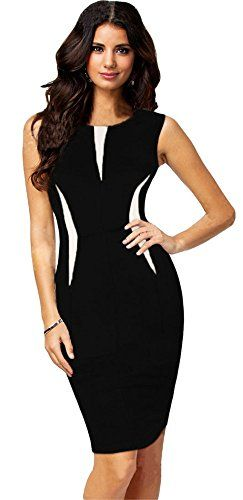 Sexy Contrast Color Blocking Sleeveless Bodycon Tank Dress Black and White XL