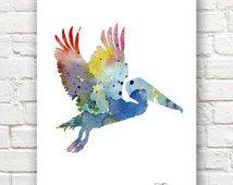 Pelican Art Baskı - Soyut Suluboya Resim - Duvar Dekor