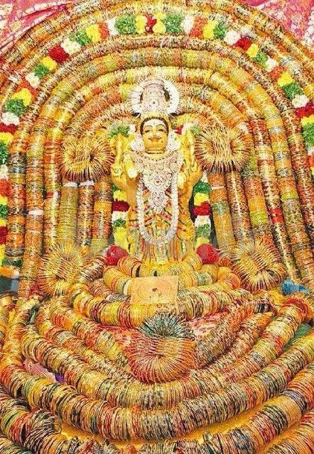 Deity Alankar- amman decorated in bangles.... | Temple ...