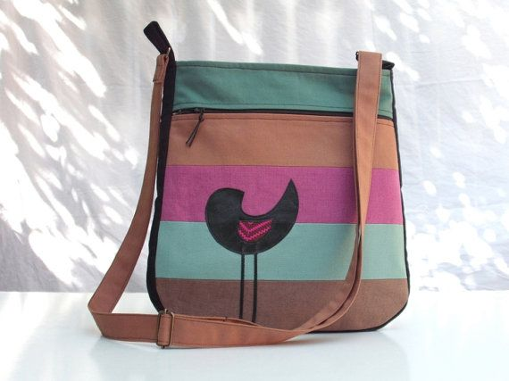 Modern messenger bag tote shoulder bag cross body bag  from red plum eggplant claret mallow strips with three zippers pockets. $65.00, via Etsy.