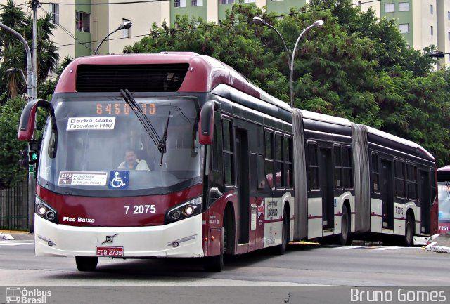 (Brasil) Ônibus da empresa Viação Campo Belo, carro 7 2075, carroceria CAIO Millennium BRT, chassi Volvo B360S. Foto na cidade de São Paulo-SP por Bruno Gomes, publicada em 24/03/2014 22:07:27.