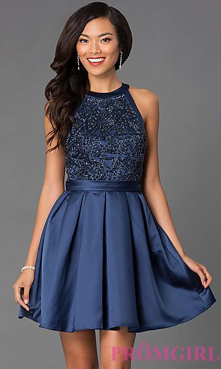 High Neck Sleeveless Dress 7242 with Embellished Bodice at PromGirl.com  PO-7242