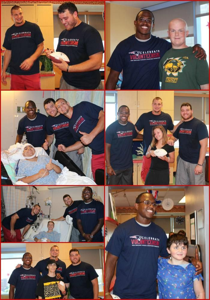 Thank you @RobGronkowski Chris Jones and Matthew Slater for visiting #MGHfC last week. #touchdown @Patriots