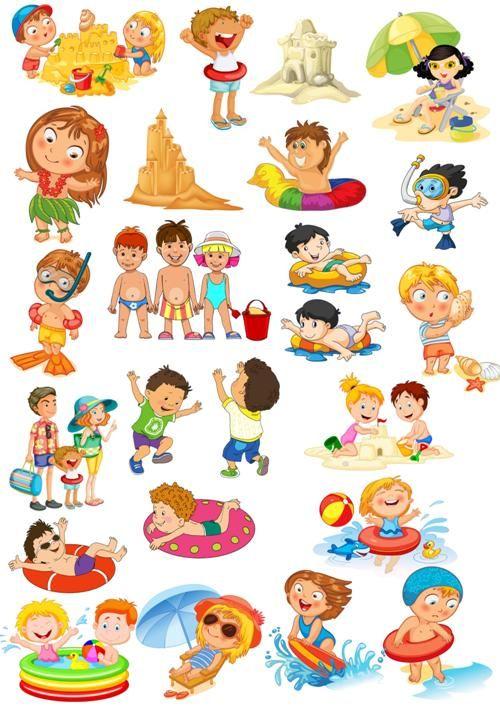 Grafika Gyerekek a strandon