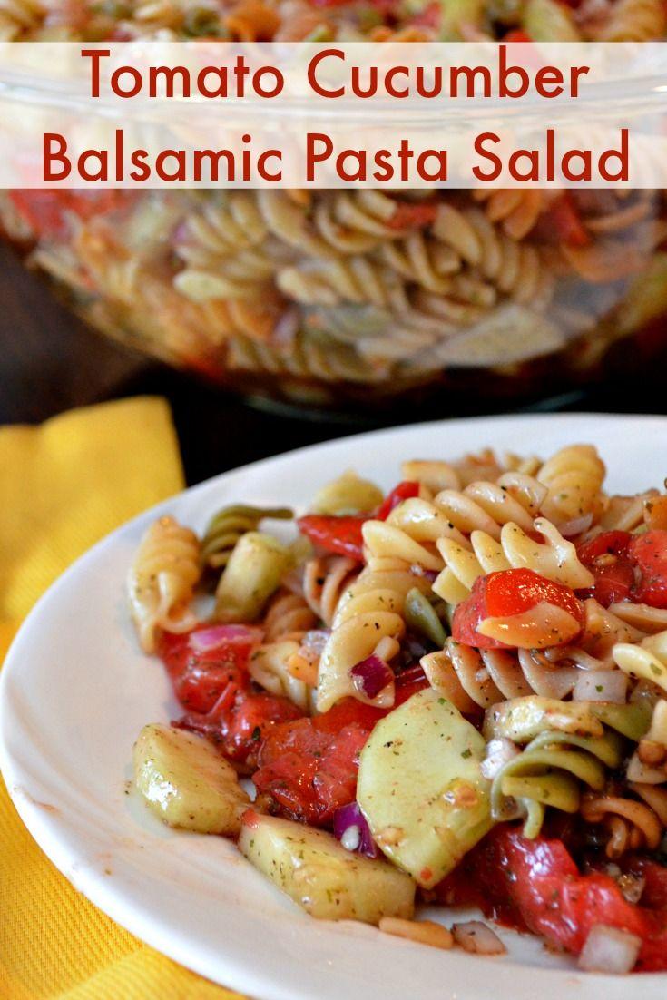 Easy Pasta SaladTomato Cucumber Balsamic  Recipe  Balsamic pasta salads, Italian dressing and