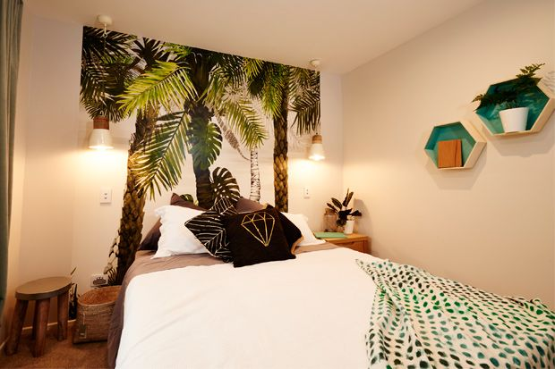 Jo & Damo from The Block NZ's bedroom makeover featuring our Chi cushion cover and Ambient Pendant lights.