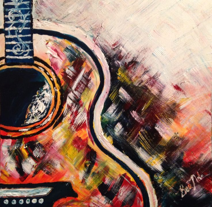 Recent painting I did .. Colourful Guitar :) sold.