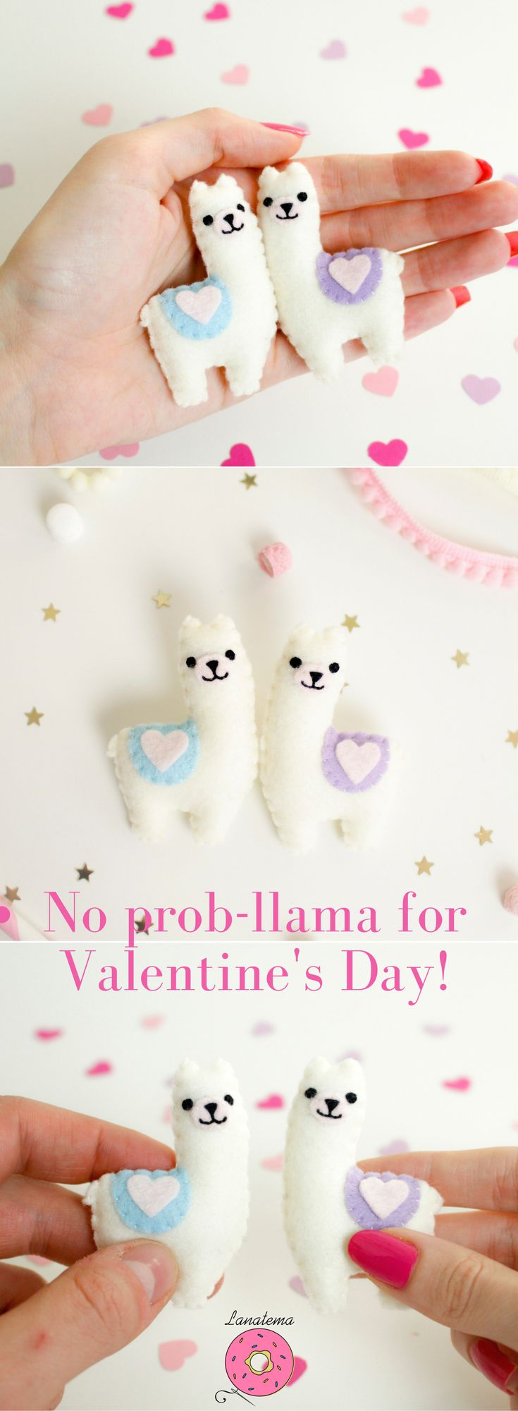 Llama felt brooches Valentine's day gift Because Valentine's Day would b...