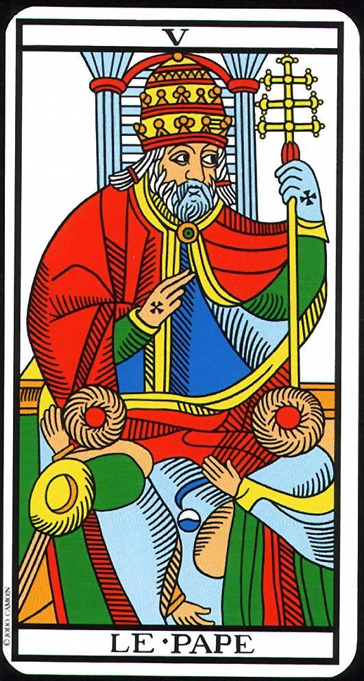 The Hierophant - V - Major Arcana   Tarot de Marseille (Camoin-Jodorowsky)