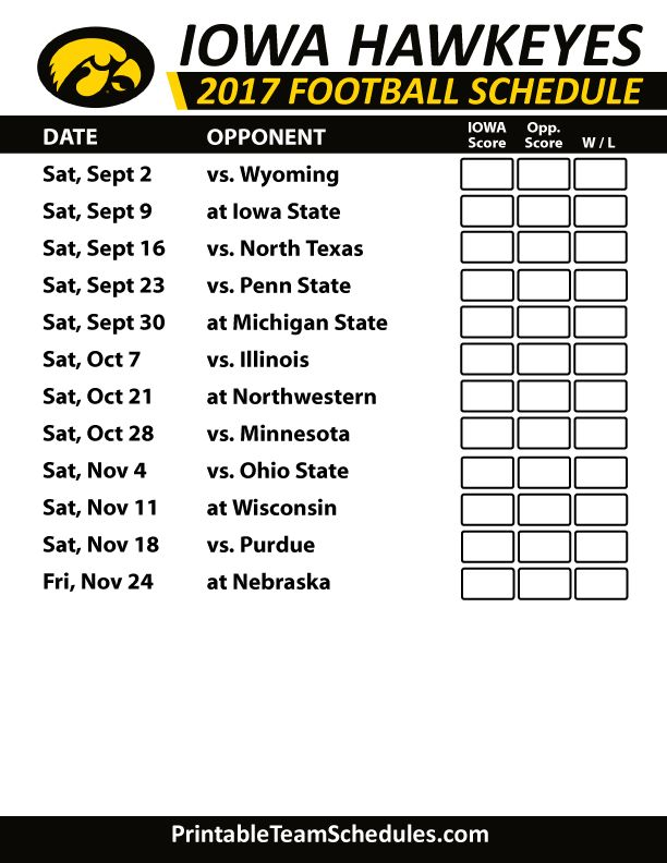 2017 Iowa Hawkeyes Football Schedule