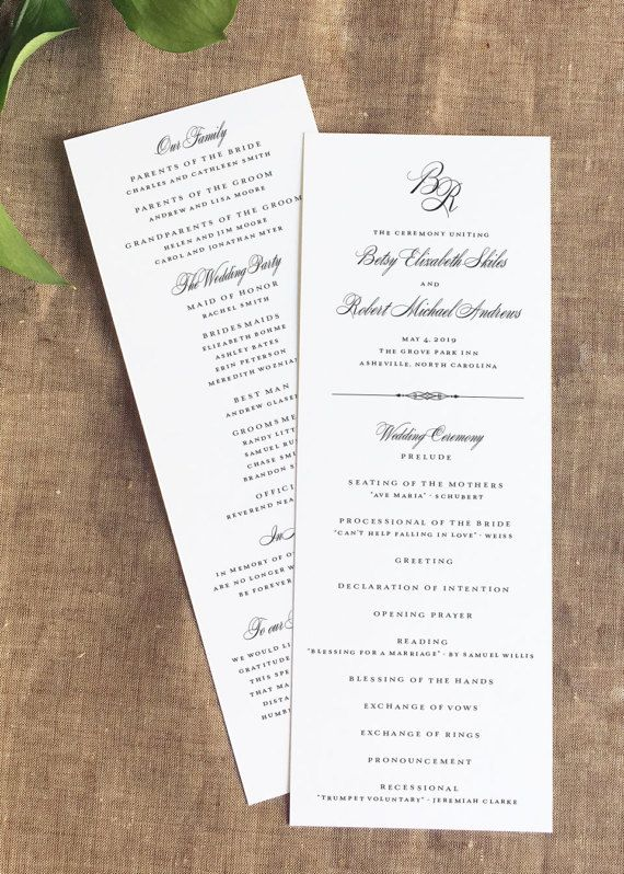 Our Grove Park Formal Wedding Programs are a beautiful choice for your simple and timeless wedding ceremony. Wedding programs make a wonderful keepsake for guests. Customization: View ink and paper choices in the images above. AS SHOWN: Black Ink (Image #1) (wording is not customizable for sample orders)  To Order: ∴ Purchase either a SAMPLE or DEPOSIT FOR PRINTING ∴ For SAMPLE orders, please include PAPER and INK choices in the notes to seller at checkout (we do not customize wording for…