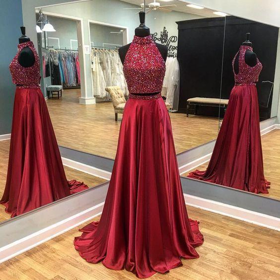 Charming Prom Dress,Elegant Prom Dress,Sleeveless Two Piece Prom