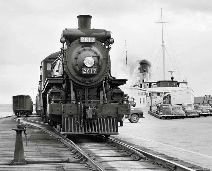 Phil Hastings Photograph-Canadian Pacific Railway Pacific type loco at Digby N.S with Princess Helene stemaship in the background-october 1953