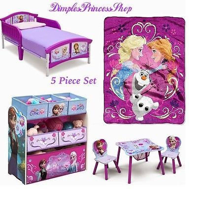 5 Piece Disney Frozen Toddler Bedroom Set Bed Blanket Table Chair Toy Organizer 325 00