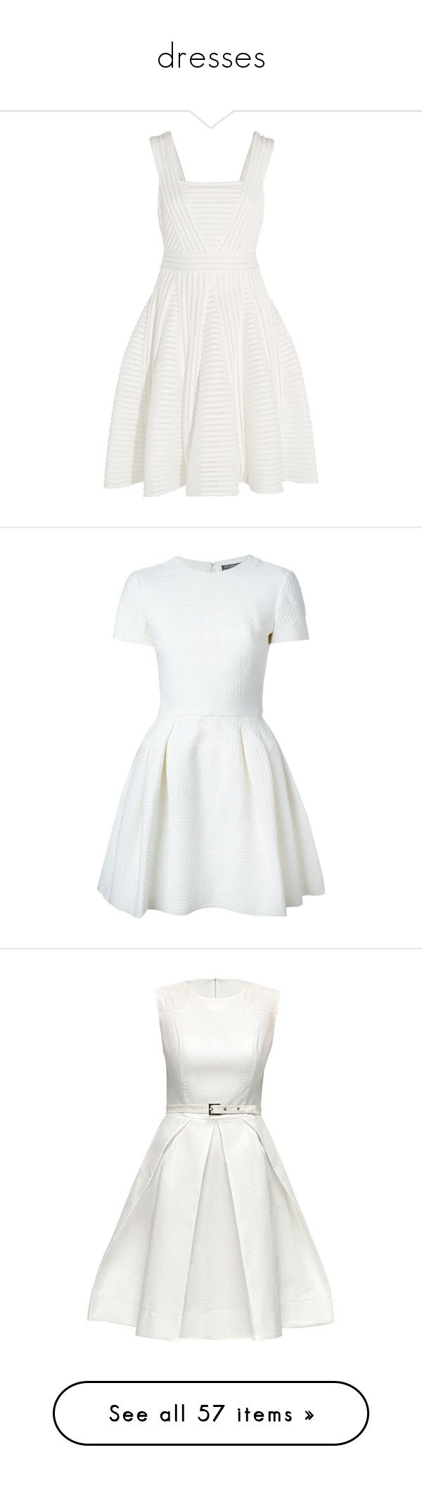 """""""dresses"""" by glamgirl321 ❤ liked on Polyvore featuring dresses, white, pleated cocktail dress, ribbed knit dress, white pleated dress, glamorous dresses, maje dress, vestidos, short dresses and short sleeve mini dress"""