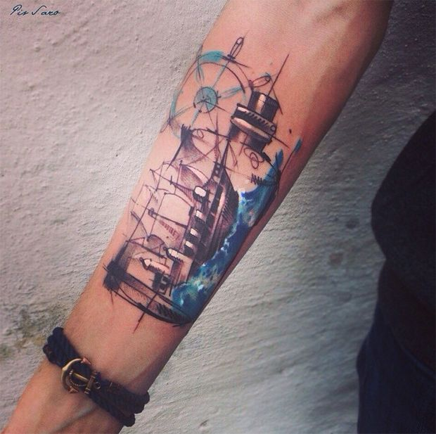 #tattoofriday - Pis Saro: esboços e aquarelas na pele, Crimea, Ucrânia.