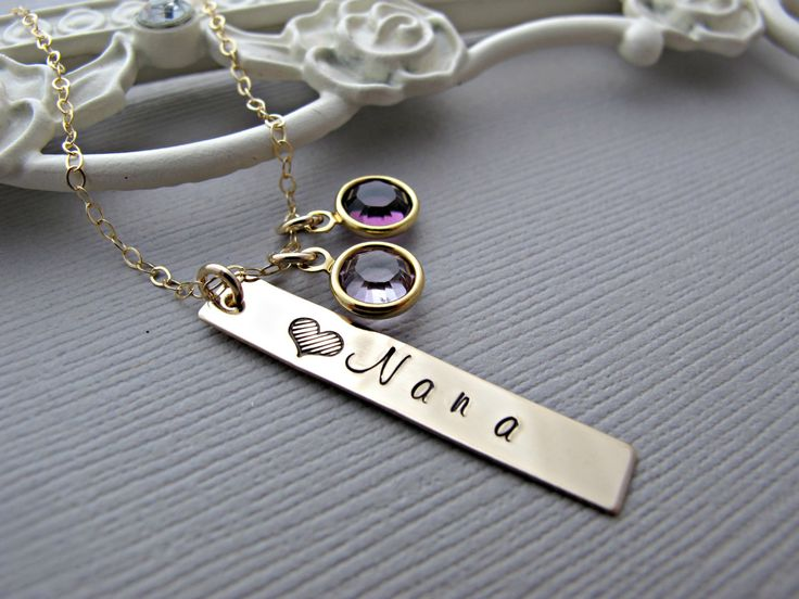 Gold Nameplate Necklace, Personalized Necklace, Gold Necklace, Necklace, Birthstone Necklace, Birthstone Jewelry, Gold Jewelry, Engraved