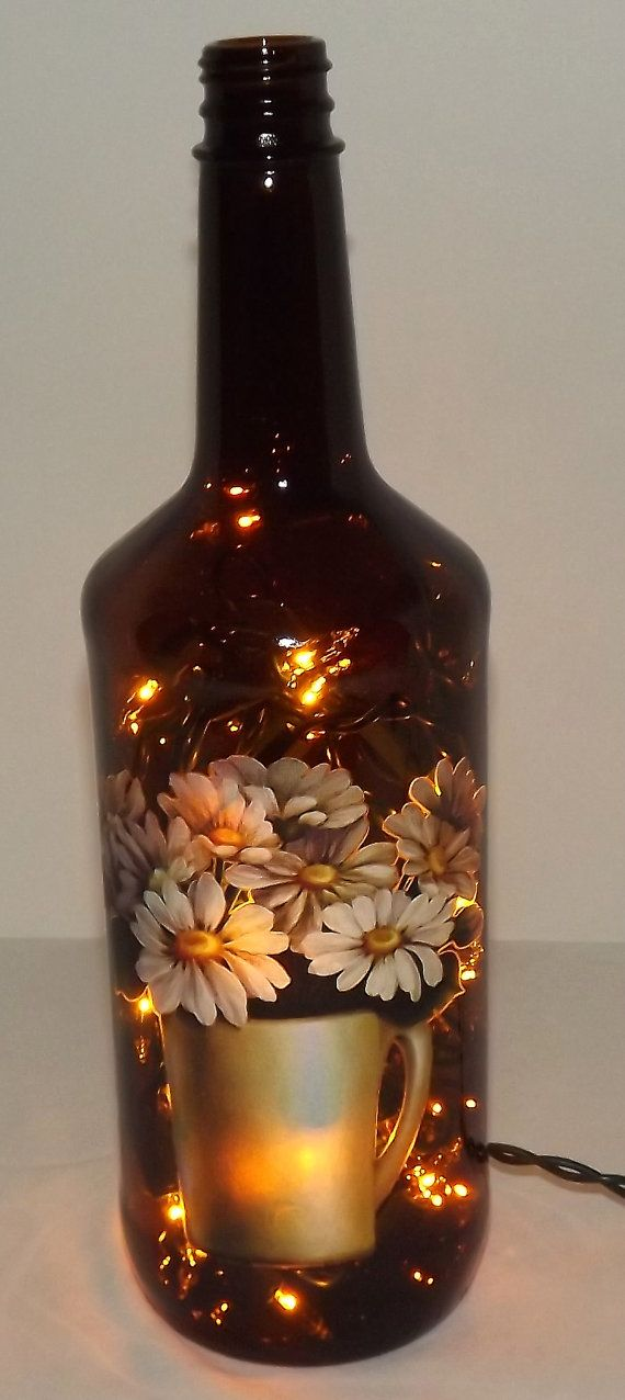 SALEUnique Daisy Montage Glass Bottle Accent by CanDezign on Etsy, $18.00