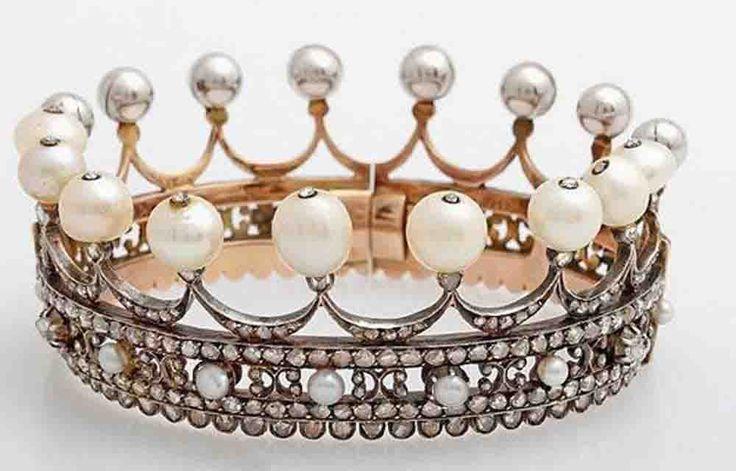 Princess Tiara Crown Diamond Pearl 19.25 Ct Silver headband