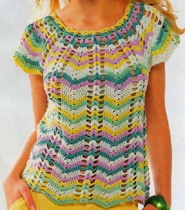 See that beautiful blouse crochet yarn. colorful and beautiful | Crochet patterns free