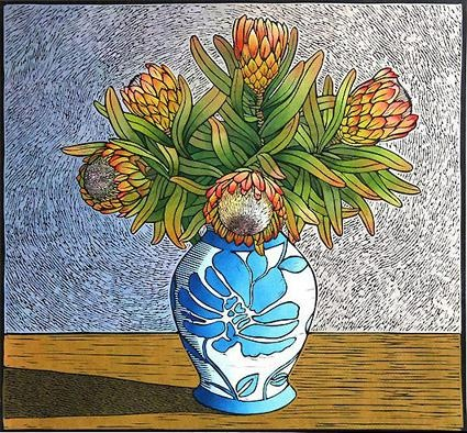 Theo Paul Vorster - hand painted lino