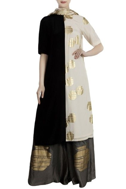28a63a2346b Black & white crepe & satin half-and-half kurta with palazzo & dupatta