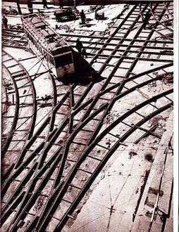 Berlin: Straßenbahngleisbau Leipzigerstraße Ecke Jerusalemer Straße 1935