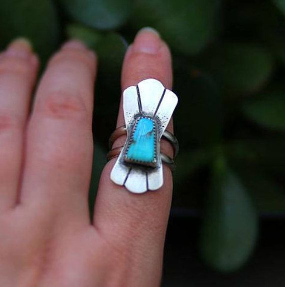 Size 7 Turquoise Ring Sterling Silver turquoise Ring