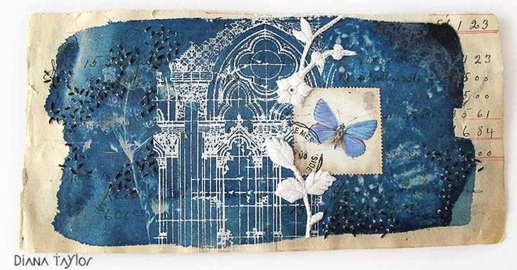 Midnight Garden collage, cyantotype and thermofax printing by Velvet Moth Studio