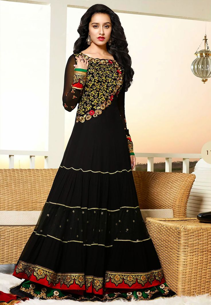 #Shradha Kapoor in Black Faux Georgette Anarkali Suit