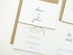 This simple type wedding suite features a fabulous script font, and shown above with optional twine. Our elegant, minimalist wedding stationery
