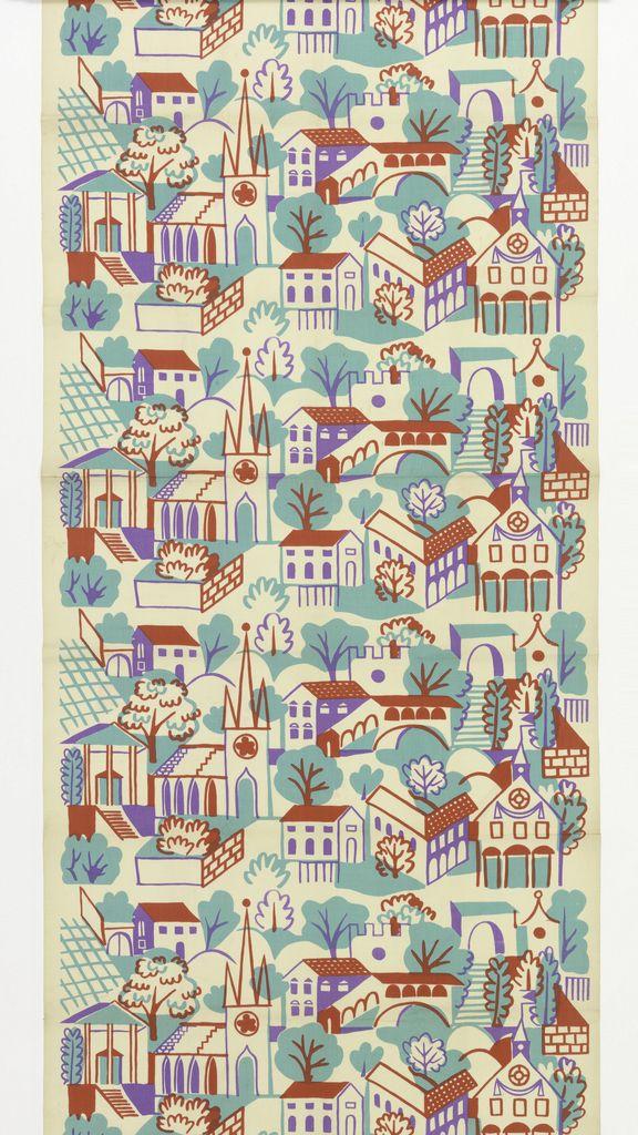 """Textile, """"Village"""", mid-20th century. Designed by Alexander Hayden Girard."""